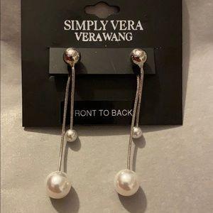 Vera Wang dangle post earrings with faux pearls